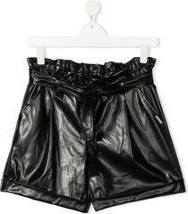 msgm kids ruched tie waist shorts - black