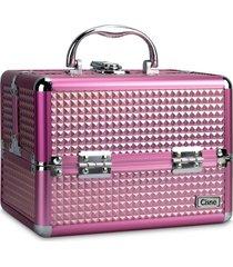 maleta de maquiagem cisne alumínio reforçada 4 bandejas rosa
