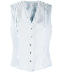 acne studios recrafted frayed denim vest - blue