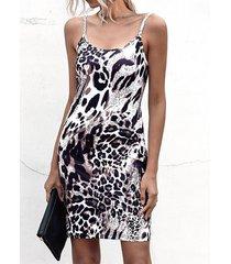 correa de espagueti leopardo redondo cuello sin mangas vestido