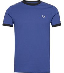 taped ringer t-shirt t-shirts short-sleeved blå fred perry
