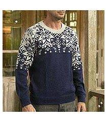 men's 100% alpaca pullover, 'snowflake dimension' (peru)