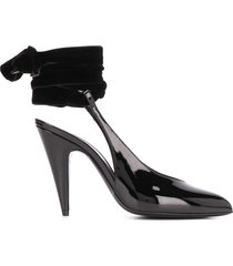 saint laurent wraparound tie pumps - black