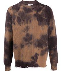 laneus tie-dye merino jumper - brown