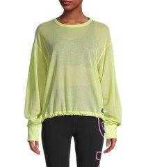 dkny sport women's mesh dropped-shoulder sweatshirt - sunny lime - size l