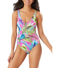 women's tommy bahama sun kissed reversible one-piece swimsuit