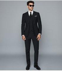 reiss pray - slim fit travel trousers in black, mens, size 38l
