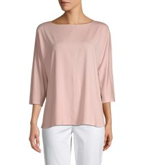 eileen fisher women's boatneck boxy top - powder pink - size m