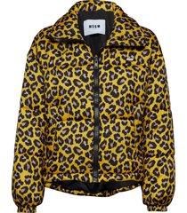 animalier printed nylon bomber jacket gevoerd jack geel msgm