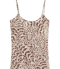 top estampado mujer color café, talla 14
