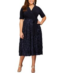 alex evenings plus size surplice rosettes dress