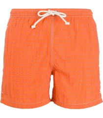 kiton short de natação com estampa de poás - laranja