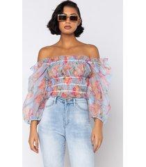 akira bouquet light long sleeve blouse