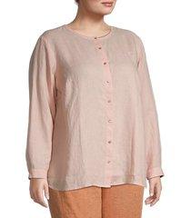 eileen fisher women's plus linen long-sleeve shirt - pink grapefruit - size 1x (14-16)