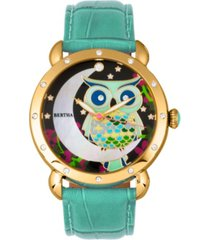 bertha quartz ashley collection gold and teal leather watch 38mm