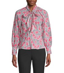 rebecca taylor women's coral floral tie top - snow combo - size 2