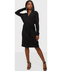 calvin klein ls v-neck pkt jersey shirt dress loose fit dresses
