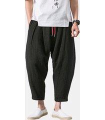 harem pantaloni larghi in cotone lino