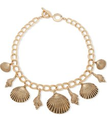 """anne klein gold-tone shell charm 17"""" toggle necklace"""