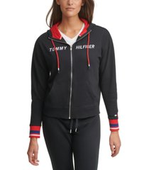 tommy hilfiger sport logo drop-shoulder zip hoodie