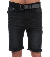 crosshatch black label mens yankton denim belted shorts size 36r in black