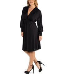 24seven comfort apparel long sleeve v-neck plus size cocktail dress