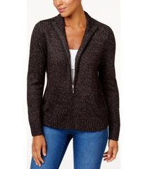 karen scott petite long-sleeve zip-front sweater, created for macy's