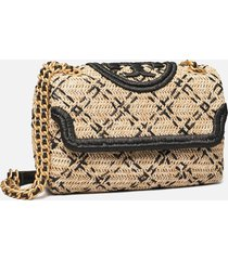 tory burch women's fleming soft straw small convertible shoulder bag - natural/black