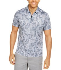 alfani men's classic-fit performance stretch abstract dash-print polo shirt, created for macy's