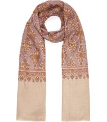 geometric floral embroidered pashmina scarf