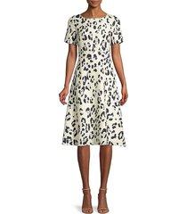 lafayette 148 new york women's amanda print silk short-sleeve flare dress - peppermint - size 8