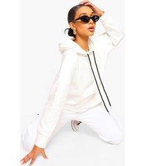 oversized contrasterende hoodie met trektouwtjes, ivory