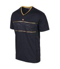 camiseta masculina elástica spain preto/ dourado camiseta masculina elástica spain preto/ dourado g