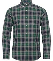 d1.melange herringbon check reg bd overhemd casual groen gant