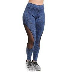 calça legging galvic mescla com detalhe em tule azul