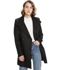 abrigo io liso negro - calce regular