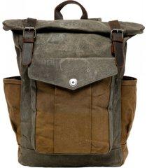 mochila vintage combinada verde marrón millam