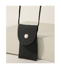bolsa de palha feminina pequena transversal preta