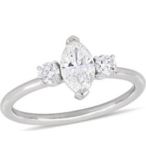 certified diamond (1 ct. t.w.) marquise and round-shape three-stone engagement ring in 14k white gold