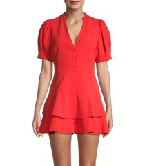 alice + olivia women's val puff-sleeve skort romper - bright poppy - size 8