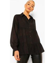 oversized dobby mesh peplum blouse met laagjes, black