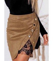 yoins falda de encaje camel button diseño