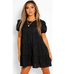 petite broderie tiered puff sleeve smock dress
