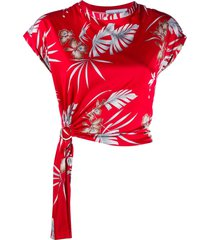 paco rabanne foliage-print o-ring top - red