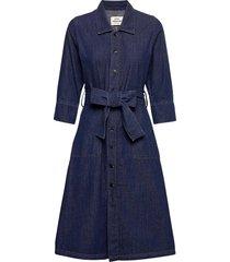 soft organic denim daffi jurk knielengte blauw mads nørgaard