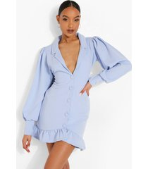 blazer jurk met volle mouwen en geplooide zoom, powder blue