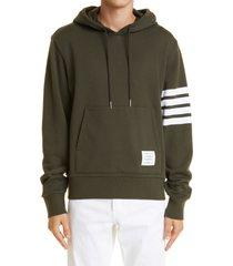 men's thom browne stripe cotton hoodie, size 4 - green