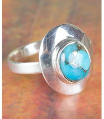 chunky blue copper turquoise gems sterling silver ring all size bjr-453-bct-b
