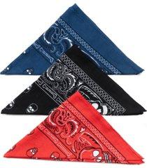 collection xiix skull square bandana set, 3 pack