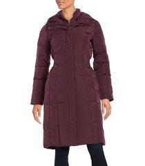 cole haan women's hooded puffer coat - cashew - size xs